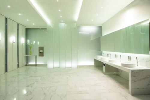 space in public restroom