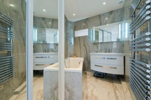 Design of modern luxury bathroom interior.