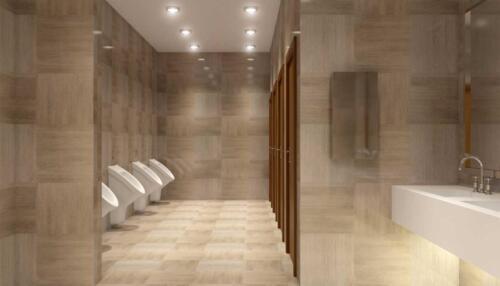 public toilet in shopping Mall, 3D rendering
