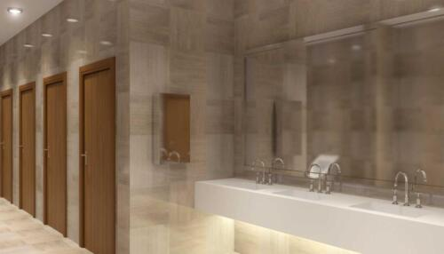 public toilet in the business center, 3D rendering